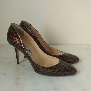 JIMMY CHOO - patent leopard leather heels